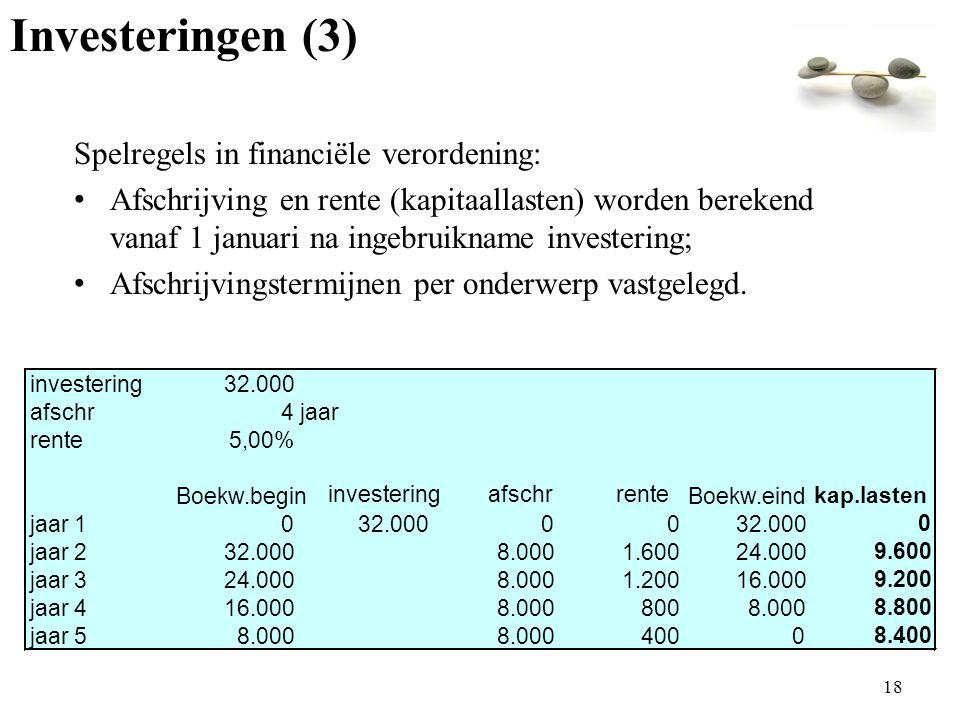 Spelregels in financiële verordening: Afschrijving en rente (kapitaallasten) worden berekend vanaf 1 januari na ingebruikname investering; Afschrijvingstermijnen per onderwerp vastgelegd.