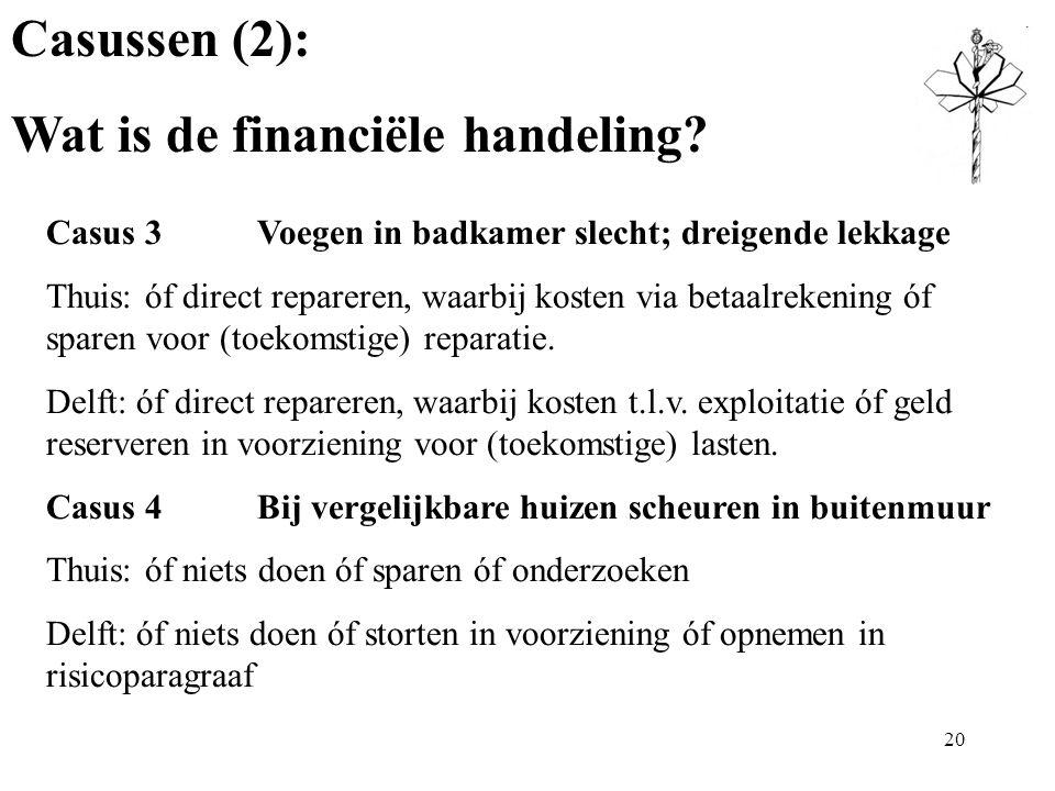 Casussen (2): Wat is de financiële handeling.