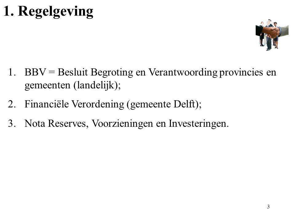 1. Regelgeving 1.BBV = Besluit Begroting en Verantwoording provincies en gemeenten (landelijk); 2.Financiële Verordening (gemeente Delft); 3.Nota Rese