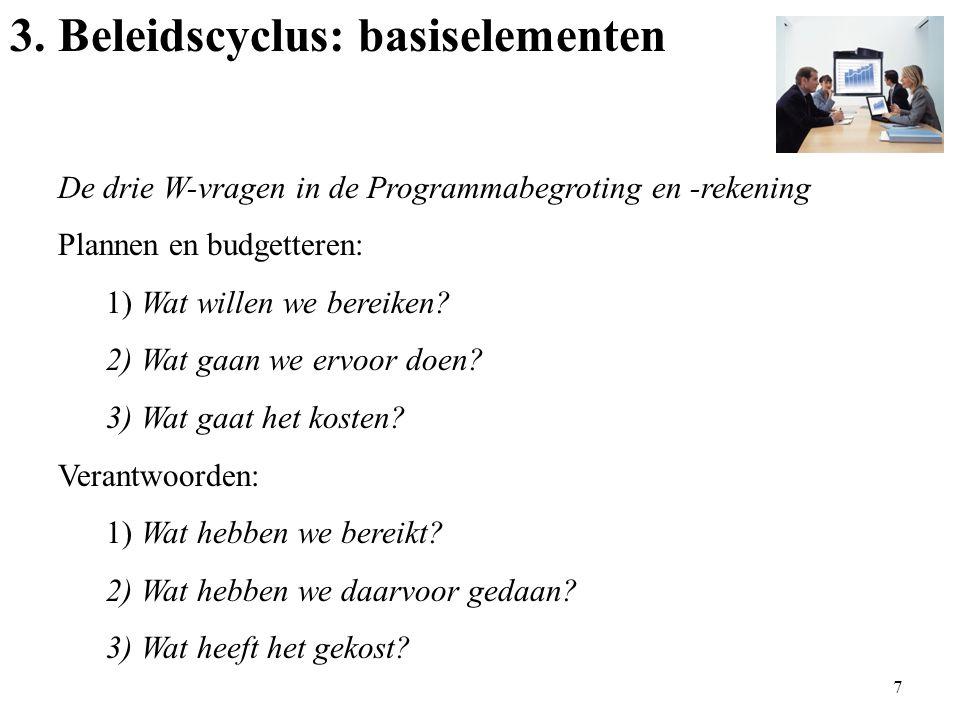 3. Beleidscyclus: basiselementen De drie W-vragen in de Programmabegroting en -rekening Plannen en budgetteren: 1) Wat willen we bereiken? 2) Wat gaan