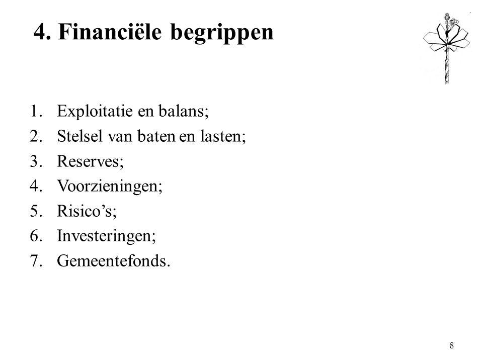 4. Financiële begrippen 1.Exploitatie en balans; 2.Stelsel van baten en lasten; 3.Reserves; 4.Voorzieningen; 5.Risico's; 6.Investeringen; 7.Gemeentefo