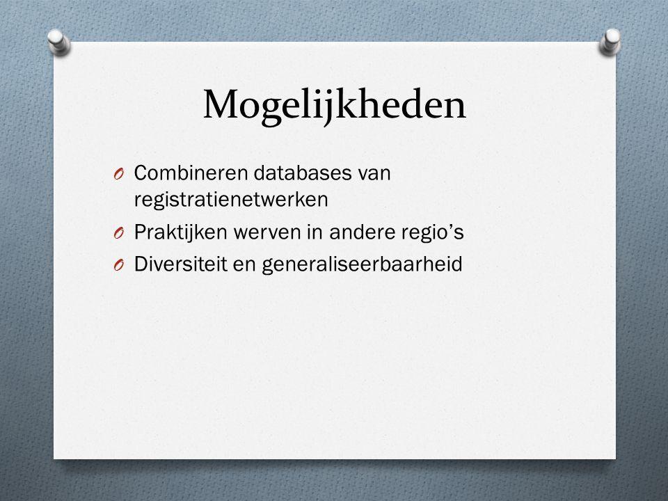 Mogelijkheden O Combineren databases van registratienetwerken O Praktijken werven in andere regio's O Diversiteit en generaliseerbaarheid