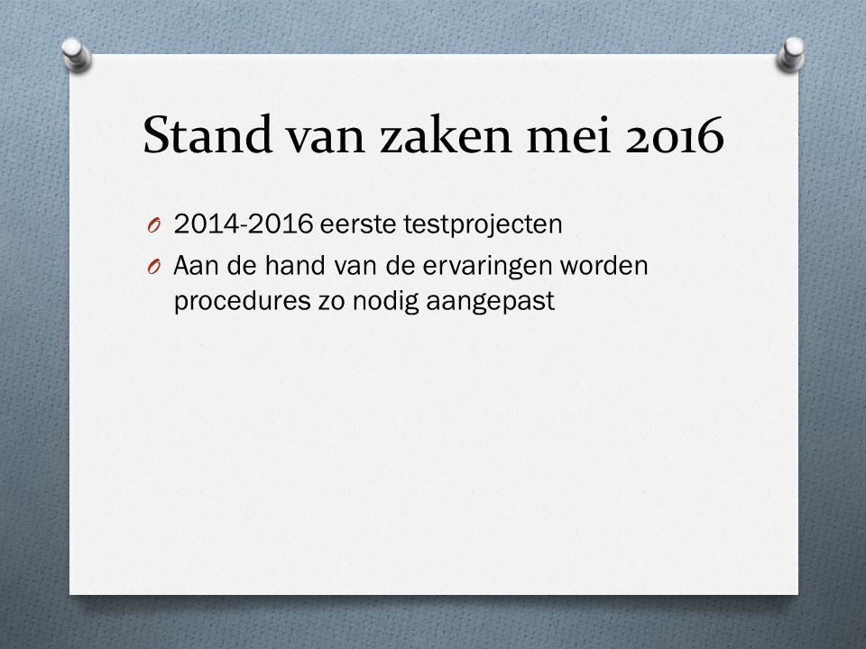 Stand van zaken mei 2016 O 2014-2016 eerste testprojecten O Aan de hand van de ervaringen worden procedures zo nodig aangepast