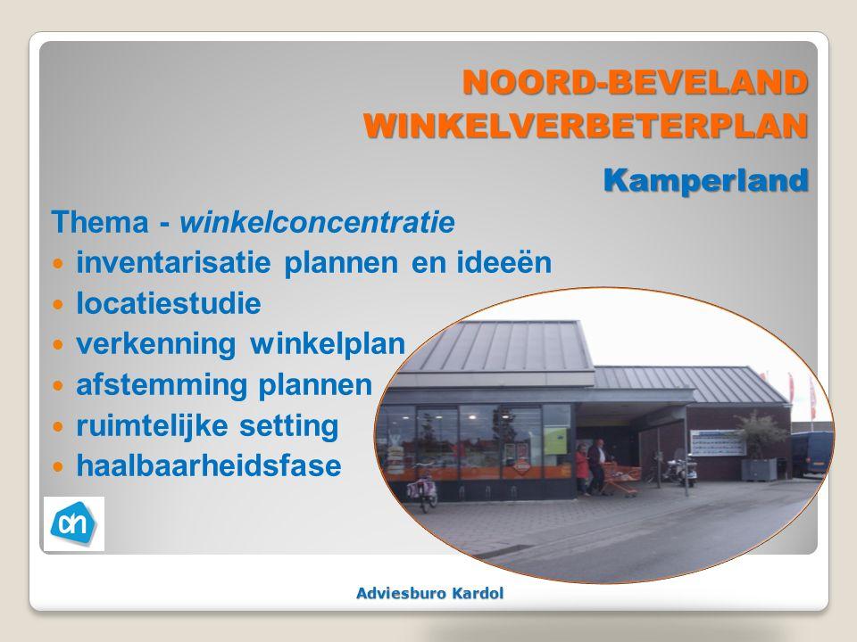 Adviesburo Kardol NOORD-BEVELANDWINKELVERBETERPLANKamperland Thema - winkelconcentratie inventarisatie plannen en ideeën locatiestudie verkenning wink