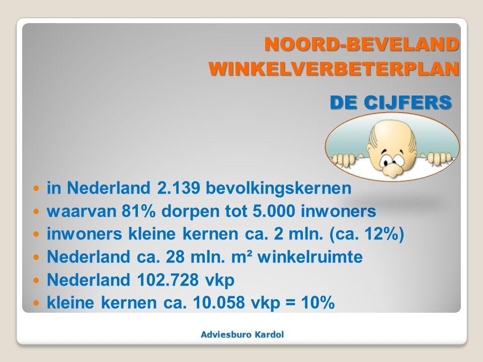 Adviesburo Kardol NOORD-BEVELAND NOORD-BEVELANDWINKELVERBETERPLAN DE CIJFERS DE CIJFERS in Nederland 2.139 bevolkingskernen waarvan 81% dorpen tot 5.0