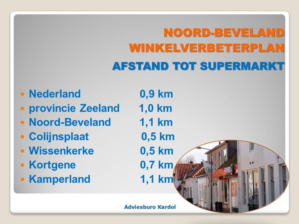 Adviesburo Kardol NOORD-BEVELAND NOORD-BEVELANDWINKELVERBETERPLAN AFSTAND TOT SUPERMARKT AFSTAND TOT SUPERMARKT Nederland0,9 km provincie Zeeland 1,0