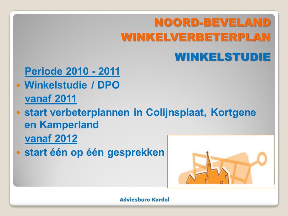 Adviesburo Kardol NOORD-BEVELANDWINKELVERBETERPLANWINKELSTUDIE Periode 2010 - 2011 Winkelstudie / DPO vanaf 2011 start verbeterplannen in Colijnsplaat