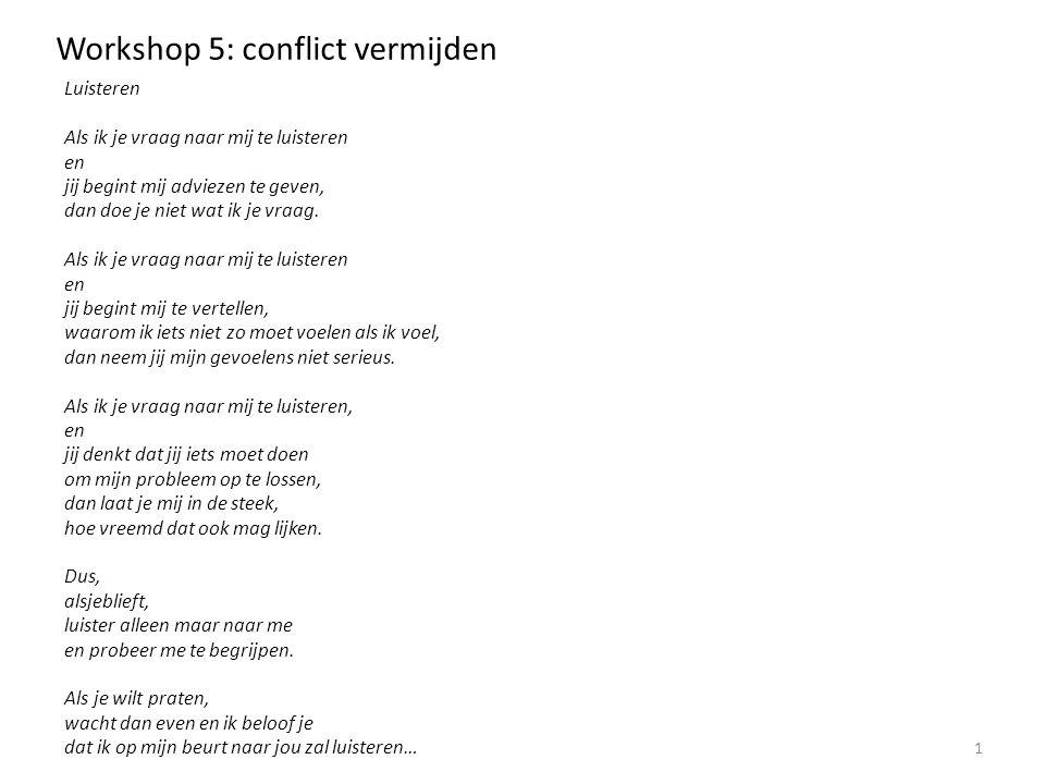 Workshop 5: conflict vermijden 1.