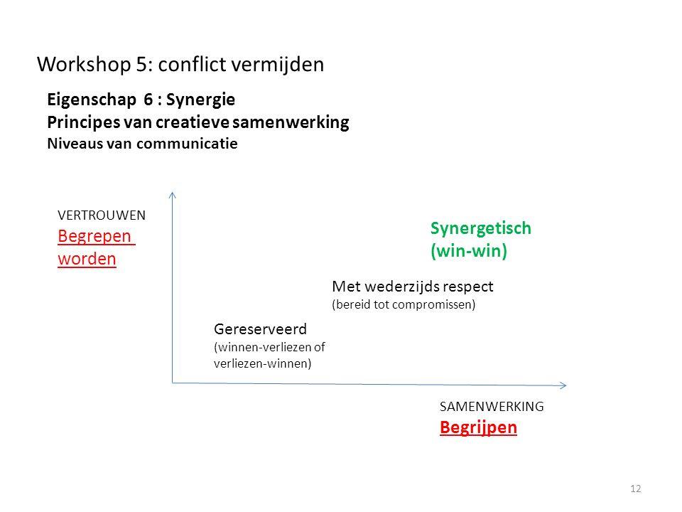 Workshop 5: conflict vermijden Eigenschap 6 : Synergie Principes van creatieve samenwerking Niveaus van communicatie 12 SAMENWERKING Begrijpen VERTROUWEN Begrepen worden Synergetisch (win-win) Met wederzijds respect (bereid tot compromissen) Gereserveerd (winnen-verliezen of verliezen-winnen)