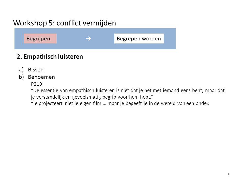BegrijpenBegrepen worden→ Workshop 5: conflict vermijden 2.