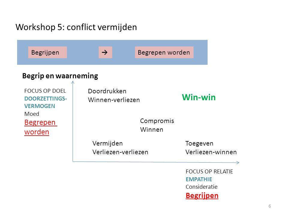 FOCUS OP RELATIE EMPATHIE Consideratie Begrijpen FOCUS OP DOEL DOORZETTINGS- VERMOGEN Moed Begrepen worden Doordrukken Winnen-verliezen Win-win Compromis Winnen Vermijden Verliezen-verliezen Toegeven Verliezen-winnen Workshop 5: conflict vermijden 6 BegrijpenBegrepen worden→ Begrip en waarneming