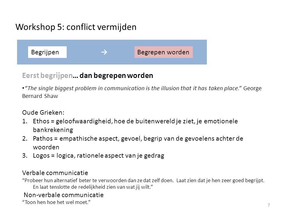 Workshop 5: conflict vermijden Eén op één In het centrum van je cirkel van invloed.