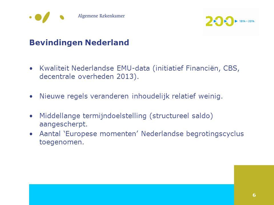 6 Bevindingen Nederland Kwaliteit Nederlandse EMU-data (initiatief Financiën, CBS, decentrale overheden 2013). Nieuwe regels veranderen inhoudelijk re