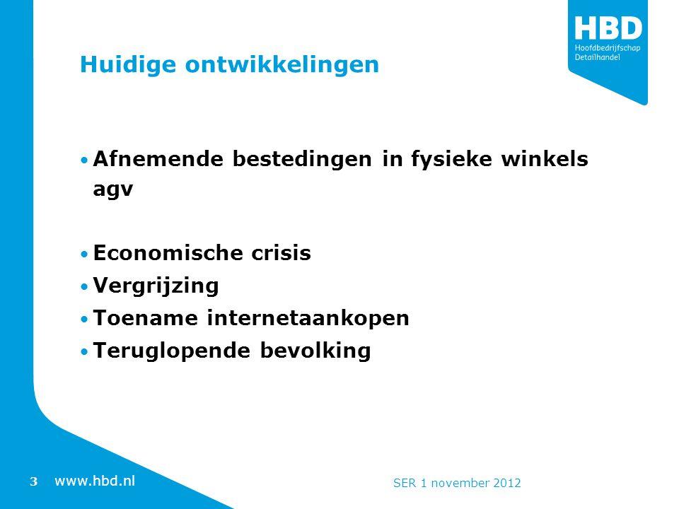 www.hbd.nl Huidige ontwikkelingen Afnemende bestedingen in fysieke winkels agv Economische crisis Vergrijzing Toename internetaankopen Teruglopende bevolking 3 SER 1 november 2012