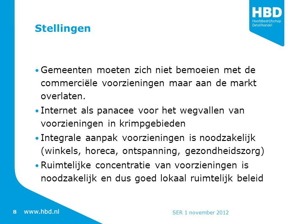 www.hbd.nl Stellingen Gemeenten moeten zich niet bemoeien met de commerciële voorzieningen maar aan de markt overlaten.