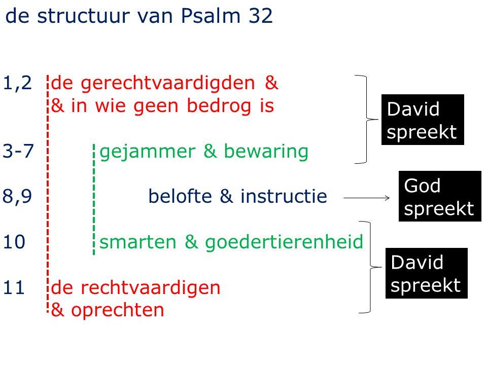 1,2 de gerechtvaardigden & & in wie geen bedrog is 3-7 gejammer & bewaring 8,9 belofte & instructie 10 smarten & goedertierenheid 11 de rechtvaardigen & oprechten David spreekt God spreekt de structuur van Psalm 32