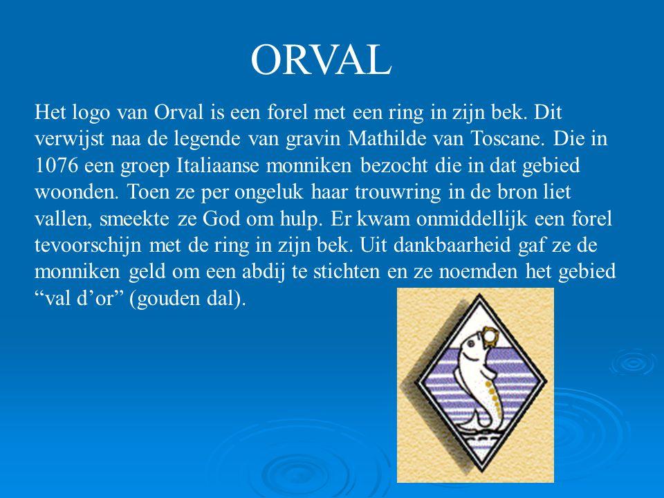 ORVAL Het logo van Orval is een forel met een ring in zijn bek.
