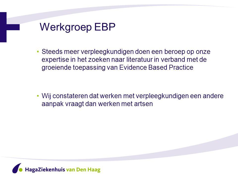 Werkgroep EBP Steeds meer verpleegkundigen doen een beroep op onze expertise in het zoeken naar literatuur in verband met de groeiende toepassing van