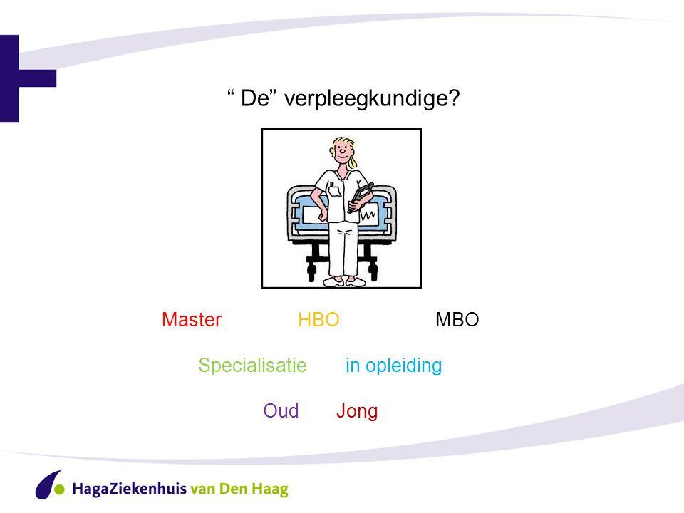 """"""" De"""" verpleegkundige? Master HBOMBO Specialisatie in opleiding Oud Jong"""