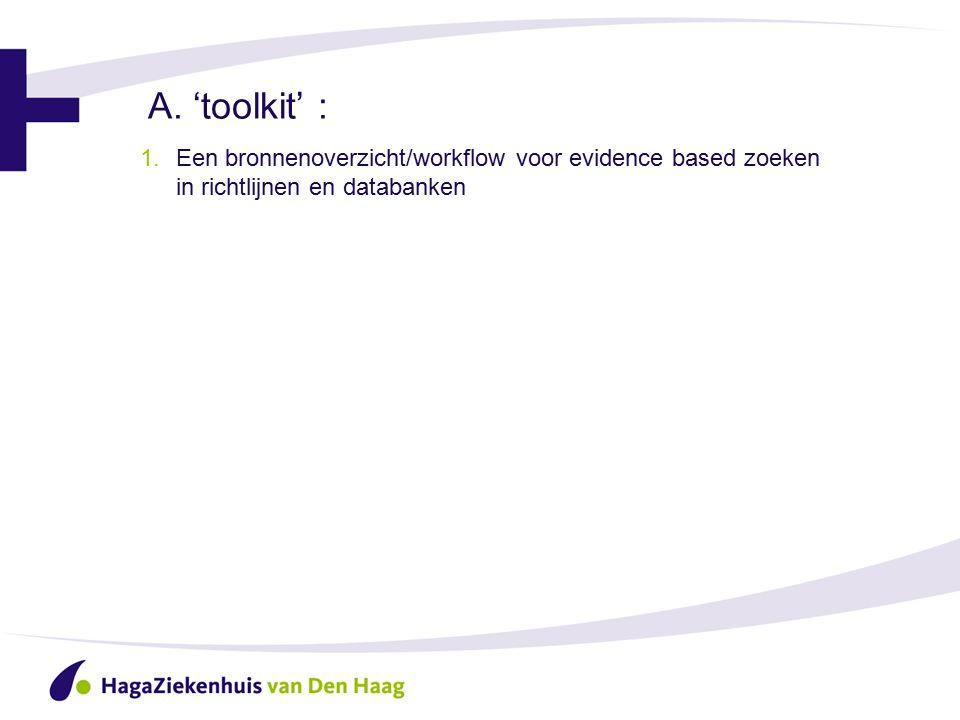 A. 'toolkit' : 1.Een bronnenoverzicht/workflow voor evidence based zoeken in richtlijnen en databanken