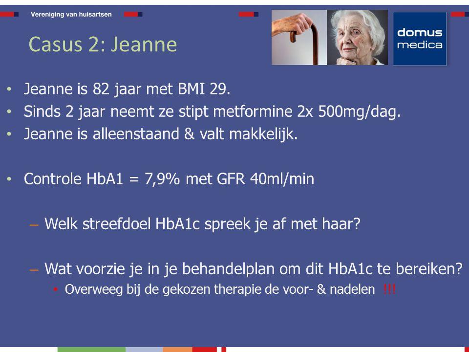 Casus 2: Jeanne Jeanne is 82 jaar met BMI 29. Sinds 2 jaar neemt ze stipt metformine 2x 500mg/dag.