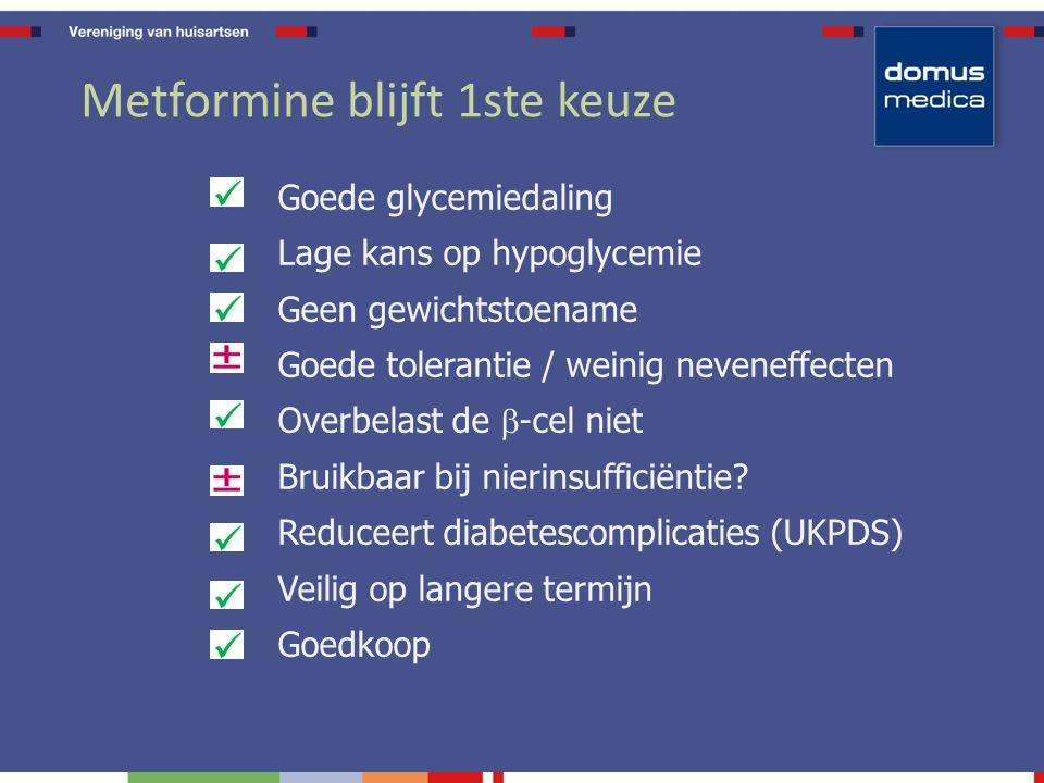 Metformine blijft 1ste keuze Goede glycemiedaling Lage kans op hypoglycemie Geen gewichtstoename Goede tolerantie / weinig neveneffecten Overbelast de  -cel niet Bruikbaar bij nierinsufficiëntie.