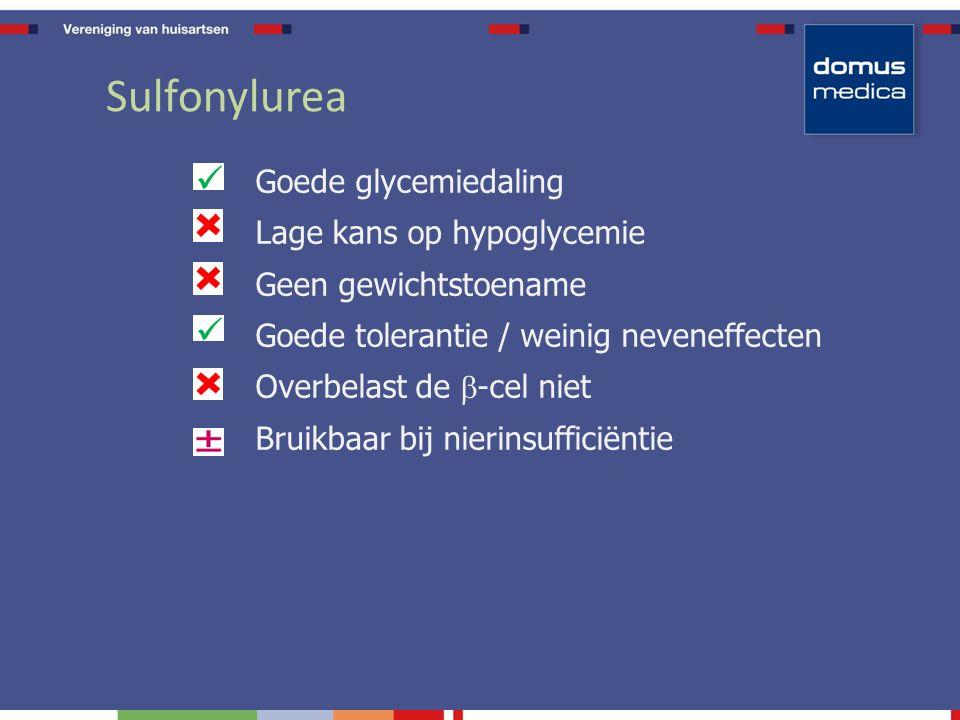 Sulfonylurea Goede glycemiedaling Lage kans op hypoglycemie Geen gewichtstoename Goede tolerantie / weinig neveneffecten Overbelast de  -cel niet Bruikbaar bij nierinsufficiëntie