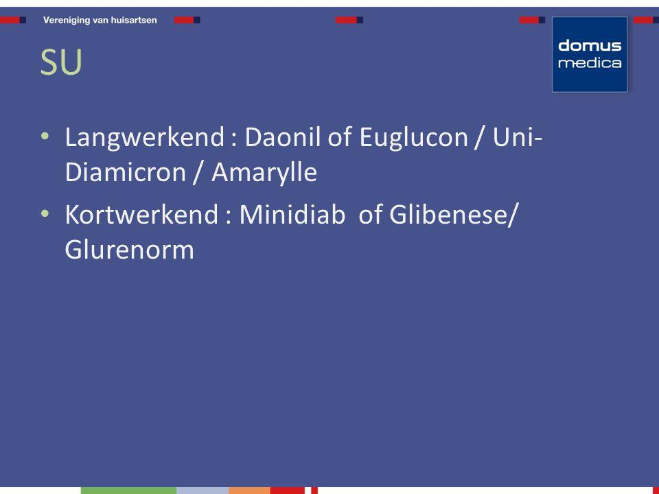 SU Langwerkend : Daonil of Euglucon / Uni- Diamicron / Amarylle Kortwerkend : Minidiab of Glibenese/ Glurenorm