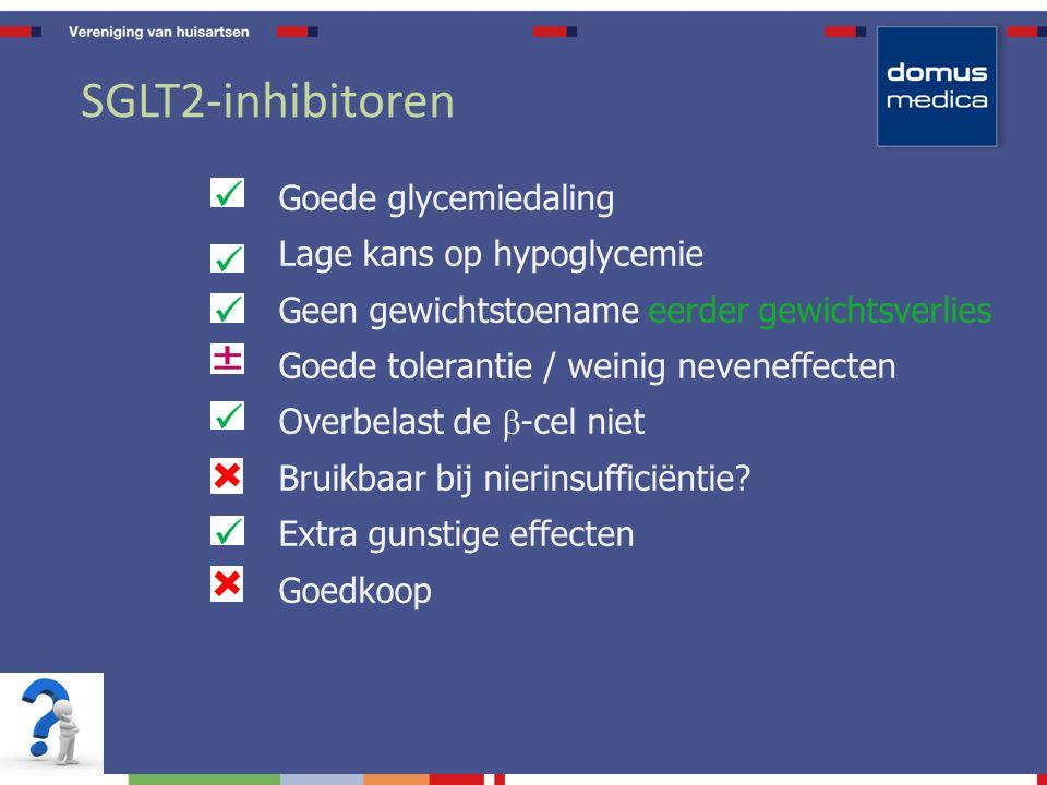 SGLT2-inhibitoren Goede glycemiedaling Lage kans op hypoglycemie Geen gewichtstoename eerder gewichtsverlies Goede tolerantie / weinig neveneffecten Overbelast de  -cel niet Bruikbaar bij nierinsufficiëntie.