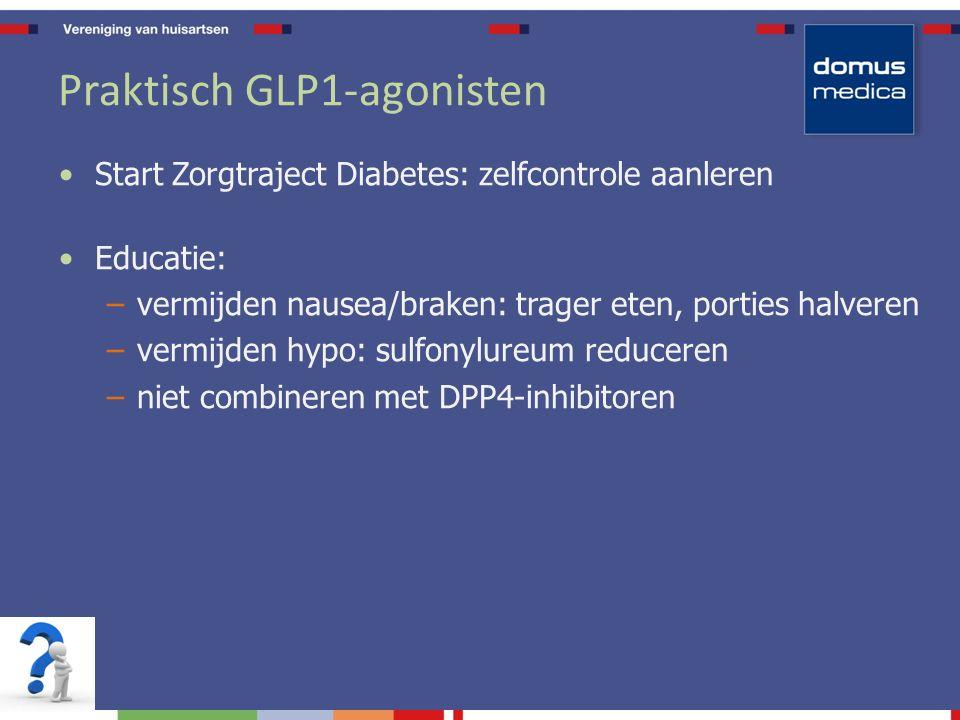 Praktisch GLP1-agonisten Start Zorgtraject Diabetes: zelfcontrole aanleren Educatie: –vermijden nausea/braken: trager eten, porties halveren –vermijden hypo: sulfonylureum reduceren –niet combineren met DPP4-inhibitoren