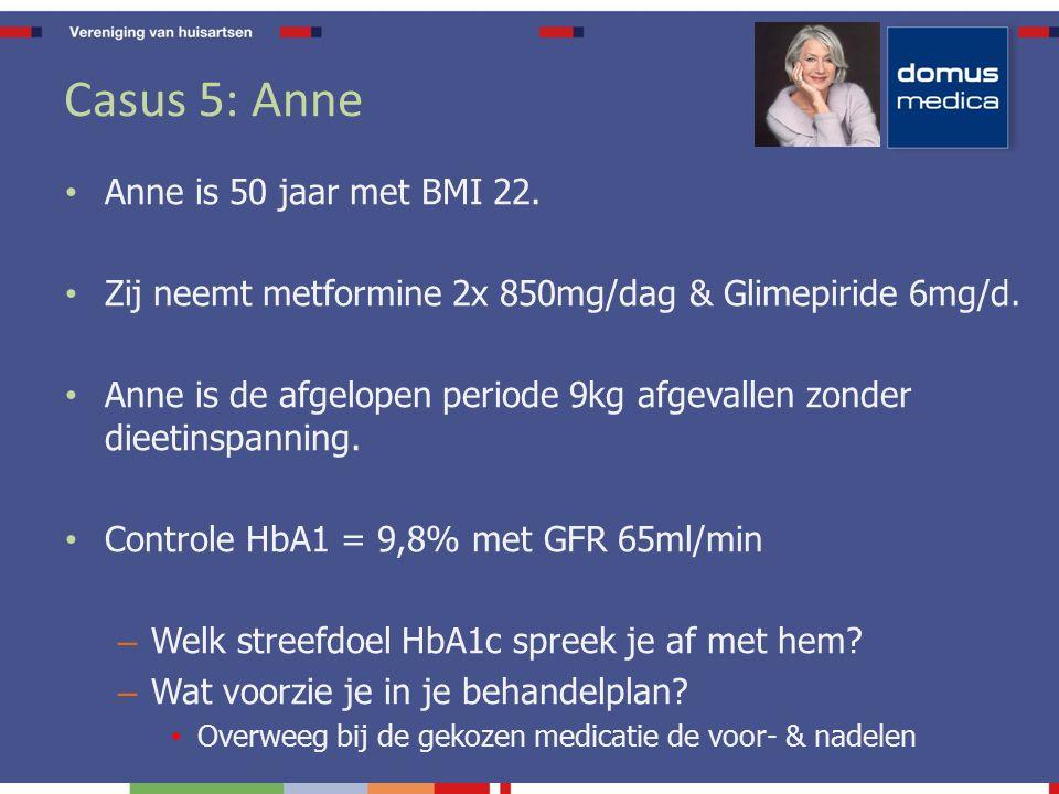 Casus 5: Anne Anne is 50 jaar met BMI 22. Zij neemt metformine 2x 850mg/dag & Glimepiride 6mg/d.