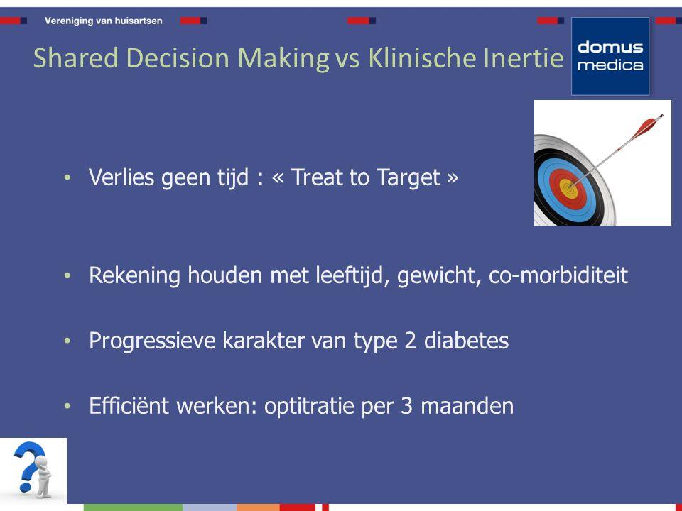 Shared Decision Making vs Klinische Inertie Verlies geen tijd : « Treat to Target » Rekening houden met leeftijd, gewicht, co-morbiditeit Progressieve karakter van type 2 diabetes Efficiënt werken: optitratie per 3 maanden