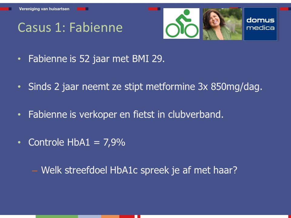 Casus 2: Jeanne Jeanne is 82 jaar met BMI 29.Sinds 2 jaar neemt ze stipt metformine 2x 500mg/dag.