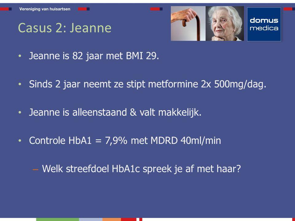 Individuele streefdoelen HbA1c <7%= In meeste gevallen haalbaar 6.0-6.5%= Overweeg bij jongere groep met recente diagnose 7.5-8.0%= Voldoende bij fragiele ouderen ifv ernstig hypo-risico, hoog-bejaard, cardiovasculaire co-morbiditeit,..