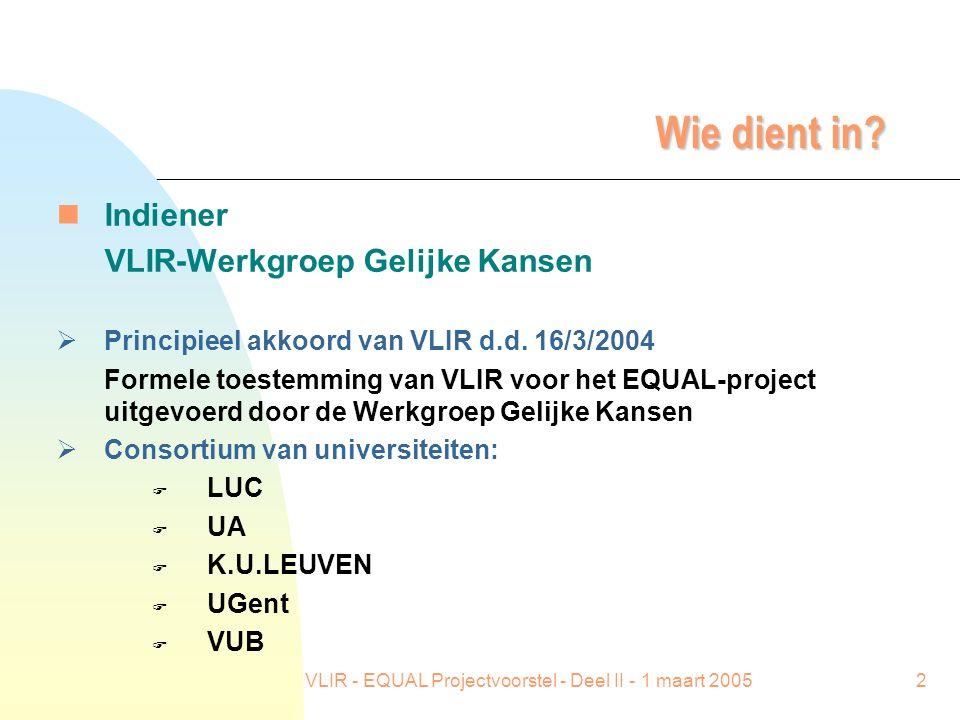 VLIR - EQUAL Projectvoorstel - Deel II - 1 maart 20052 Wie dient in? nIndiener VLIR-Werkgroep Gelijke Kansen  Principieel akkoord van VLIR d.d. 16/3/
