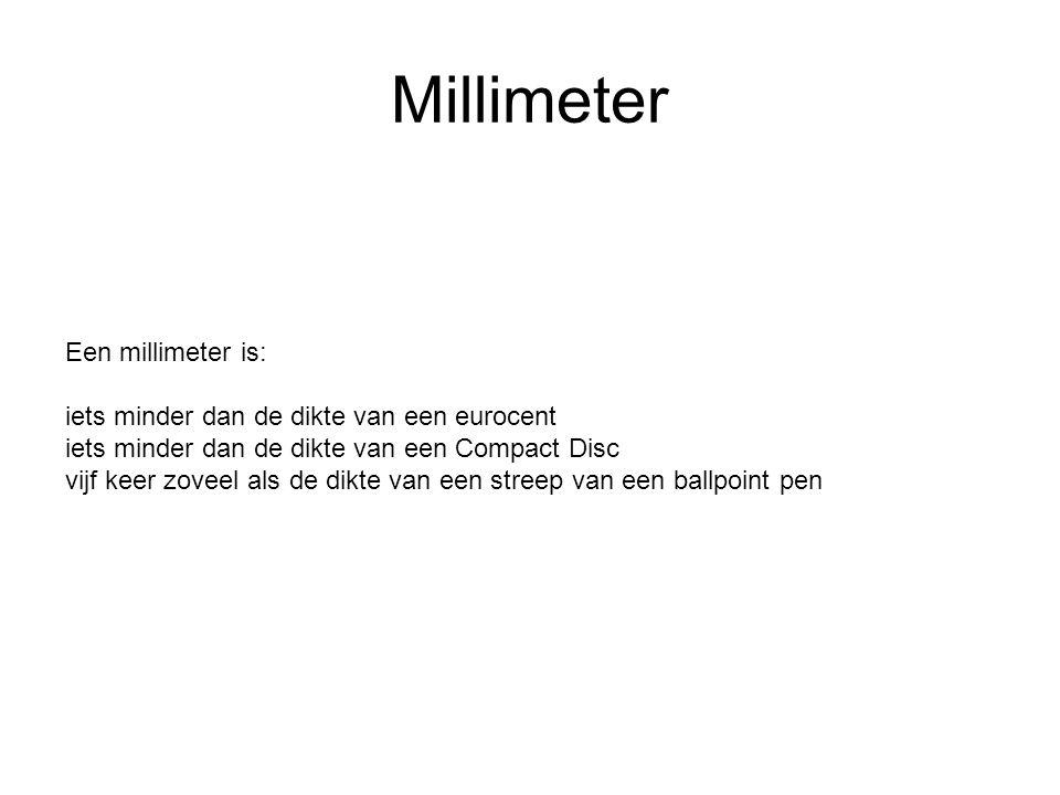 Een millimeter is: iets minder dan de dikte van een eurocent iets minder dan de dikte van een Compact Disc vijf keer zoveel als de dikte van een streep van een ballpoint pen Millimeter