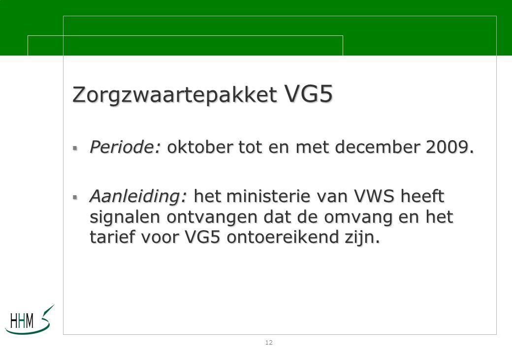 12 Zorgzwaartepakket VG5  Periode: oktober tot en met december 2009.