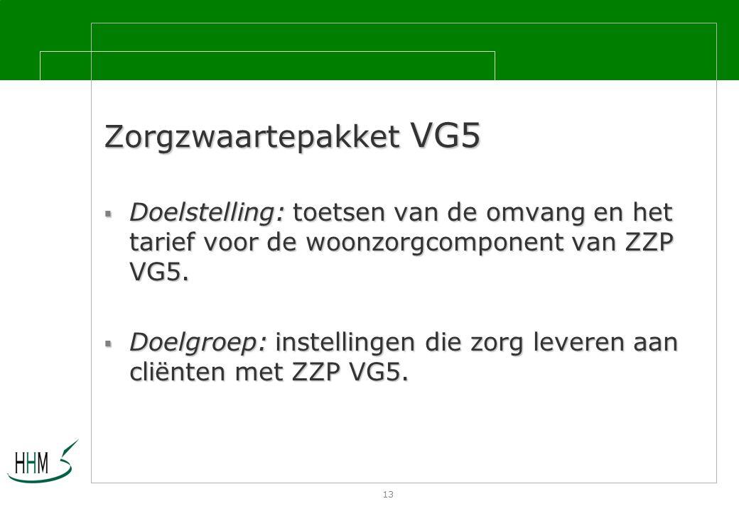 13 Zorgzwaartepakket VG5  Doelstelling: toetsen van de omvang en het tarief voor de woonzorgcomponent van ZZP VG5.