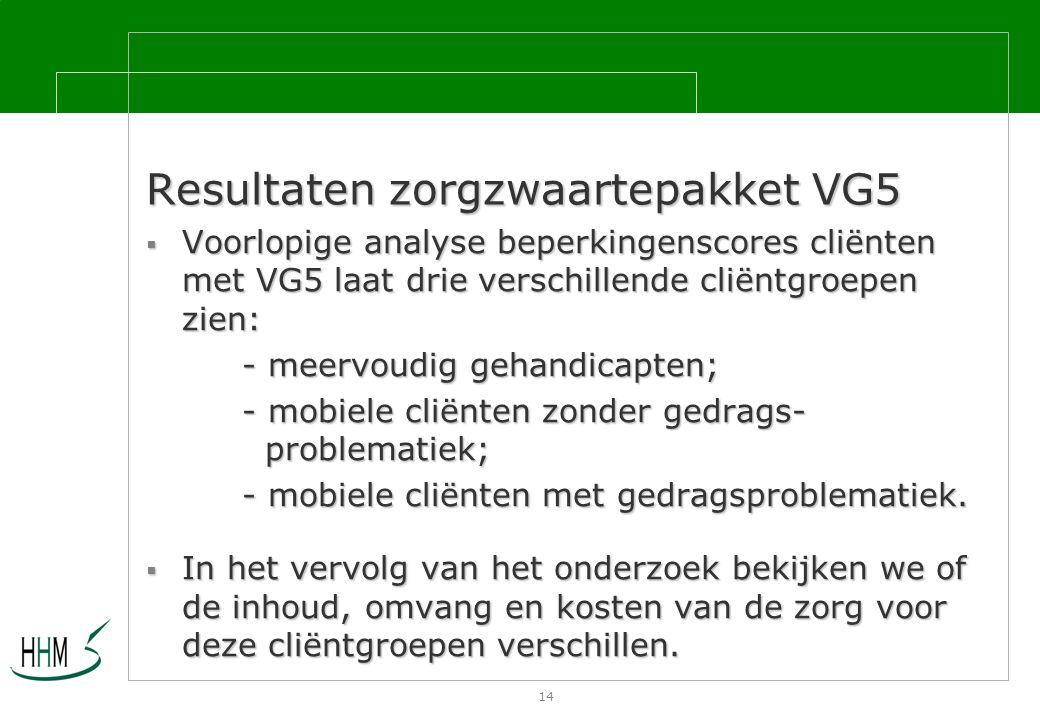 14 Resultaten zorgzwaartepakket VG5  Voorlopige analyse beperkingenscores cliënten met VG5 laat drie verschillende cliëntgroepen zien: - meervoudig gehandicapten; - mobiele cliënten zonder gedrags- problematiek; - mobiele cliënten met gedragsproblematiek.
