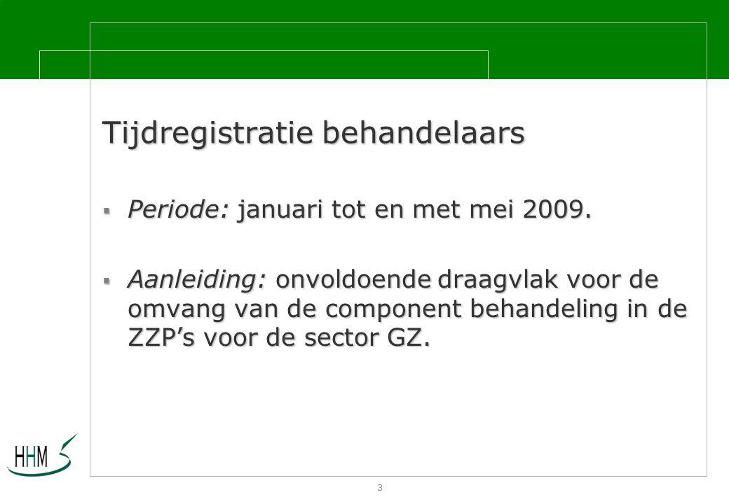 3 Tijdregistratie behandelaars  Periode: januari tot en met mei 2009.