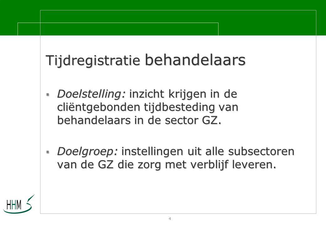 4 Tijdregistratie behandelaars  Doelstelling: inzicht krijgen in de cliëntgebonden tijdbesteding van behandelaars in de sector GZ.