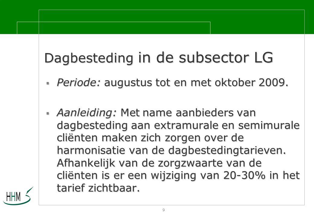 9 Dagbesteding in de subsector LG  Periode: augustus tot en met oktober 2009.