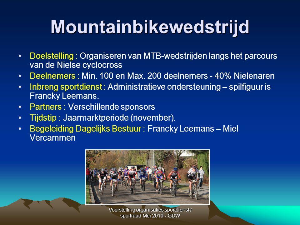 Voorstelling organisaties sportdienst / sportraad Mei 2010 - GDW Mountainbikewedstrijd Doelstelling : Organiseren van MTB-wedstrijden langs het parcours van de Nielse cyclocross Deelnemers : Min.