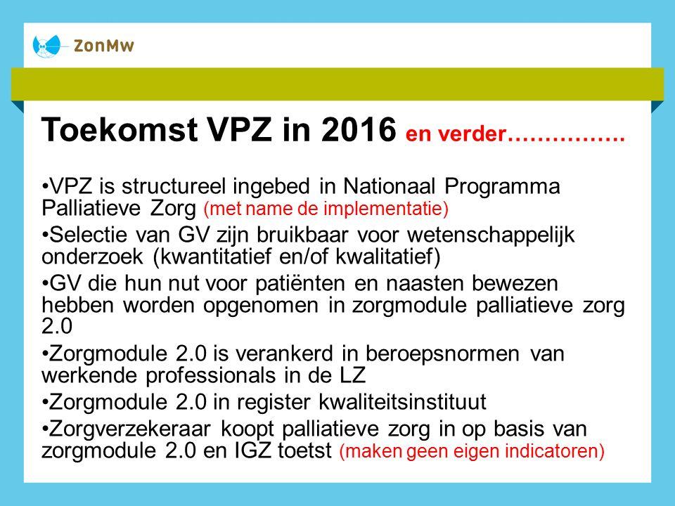 Toekomst VPZ in 2016 en verder…………….