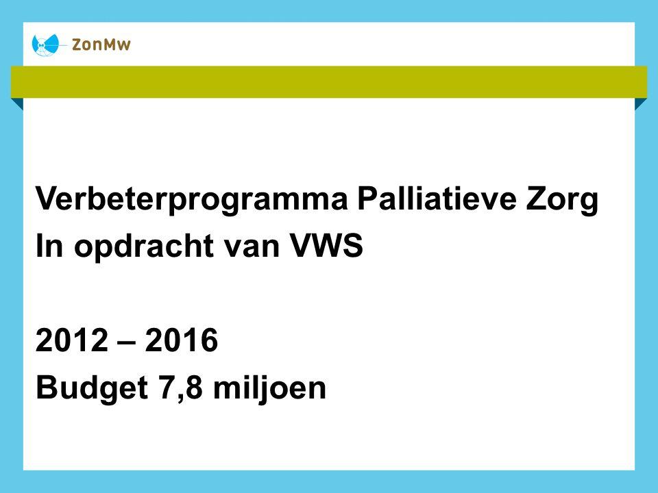 Verbeterprogramma Palliatieve Zorg In opdracht van VWS 2012 – 2016 Budget 7,8 miljoen