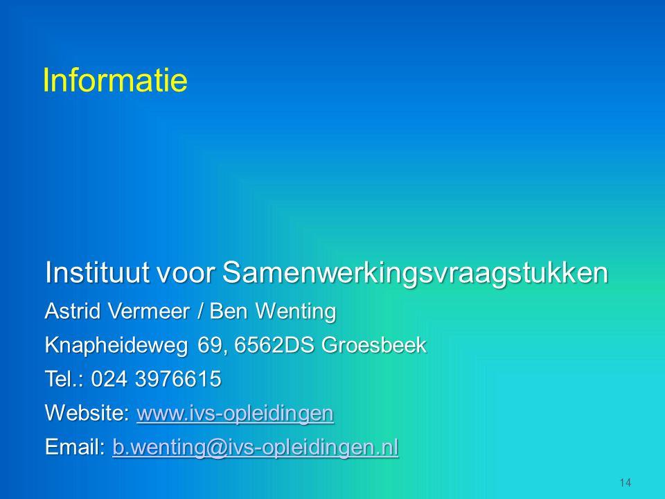 Informatie Instituut voor Samenwerkingsvraagstukken Astrid Vermeer / Ben Wenting Knapheideweg 69, 6562DS Groesbeek Tel.: 024 3976615 Website: www.ivs-opleidingen www.ivs-opleidingen Email: b.wenting@ivs-opleidingen.nl b.wenting@ivs-opleidingen.nl 14