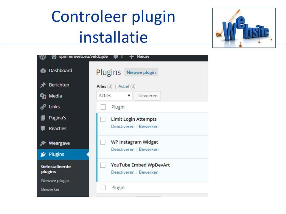 Controleer plugin installatie