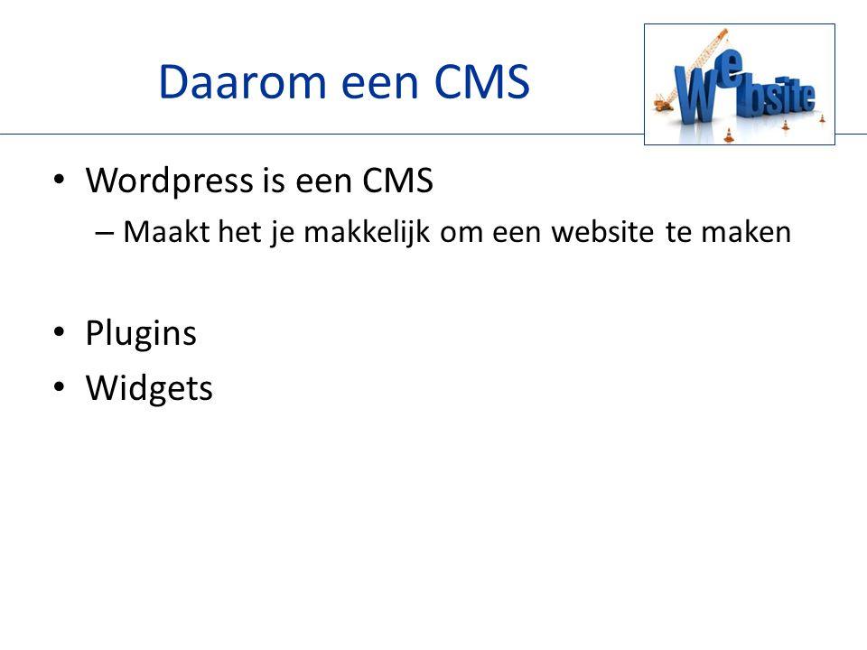 Daarom een CMS Wordpress is een CMS – Maakt het je makkelijk om een website te maken Plugins Widgets