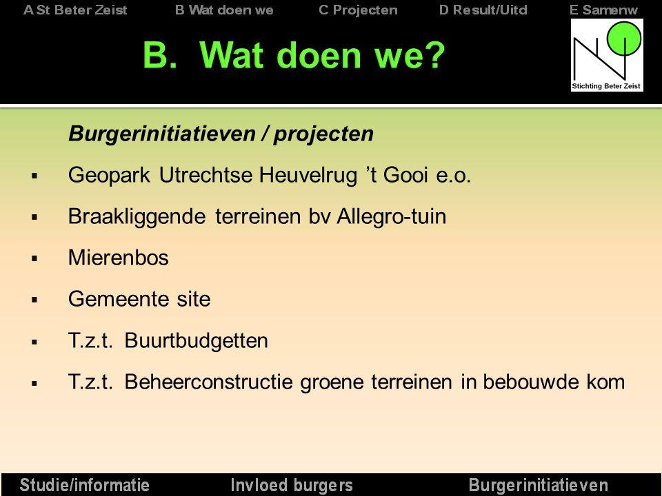 Burgerinitiatieven / projecten  Geopark Utrechtse Heuvelrug 't Gooi e.o.
