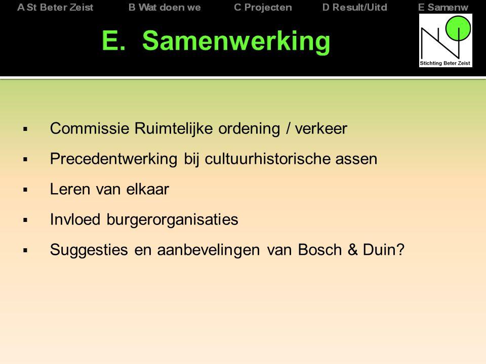  Commissie Ruimtelijke ordening / verkeer  Precedentwerking bij cultuurhistorische assen  Leren van elkaar  Invloed burgerorganisaties  Suggesties en aanbevelingen van Bosch & Duin